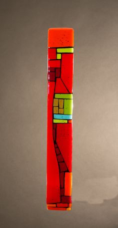 House Party Red VII by Vicky Kokolski and Meg Branzetti (Art Glass Wall Sculpture) Canvas Painting Designs, Wood Painting Art, Wood Art, Fused Glass Art, Glass Wall Art, Wall Sculptures, Sculpture Art, Painted Sticks, Mural Wall Art