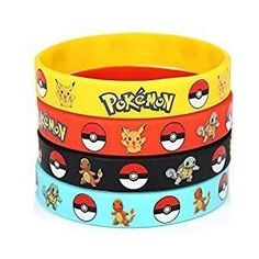 Poke Exclusives 24 Count Pokemon Rubber Bracelet Wristband - Birthday Party Favors Supplies Full Set