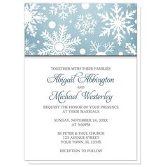 Can you picture the perfect celebration just by looking at the design on these Winter Snowflake Blue with Gray Wedding Invitations? Are you inspired? What occasions do you have coming up?    Snowflakes design Winter Wedding Invitations (with optional matching RSVP reply cards) designed with a white silhouette snowflakes pattern over an organic blue Wintery background, and your wedding details printed in gray and blue.