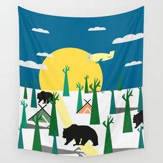 Available in three distinct sizes, our Wall Tapestries are made of 100% lightweight polyester with hand-sewn finished edges. Featuring vivid colors and crisp lines, these highly unique and versatile tapestries are durable enough for both indoor and outdoor use. Machine washable for outdoor enthusiasts, with cold water on gentle cycle using mild detergent - tumble dry with low heat. #wallart #tapestry #decor #homedecor @society6