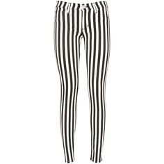 Hudson black and white striped Krista jeans ($315) ❤ liked on Polyvore