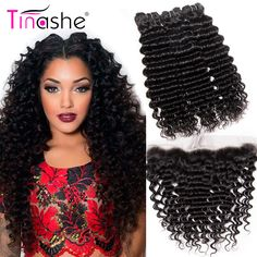 Tinashe Hair Deep Wave Bundles With frontal Remy Human Hair Lace Frontal With Bundles Brazilian Hair Weave 3 Bundle With Frontal. Yesterday's price: US $75.68 (62.55 EUR). Today's price: US $75.68 (62.54 EUR). Discount: 56%.
