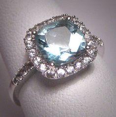 VALENTINE'S DAY?? <3 Vintage Aquamarine Wedding Ring W. Sapphire Art Deco