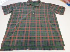 Polo by Ralph Lauren Men's short sleeve polo shirt green plaid XL cotton EUC@ #PolobyRalphLauren #PoloRugby