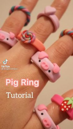 Polymer Clay Ring, Fimo Ring, Polymer Clay Crafts, Polymer Clay Animals, Polymer Clay Flowers, Diy Crafts To Do, Diy Crafts Jewelry, Cute Crafts, Ring Tutorial