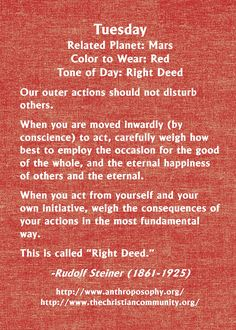 Rudolf Steiner on the energy of Tuesday