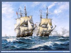 Cross,Roy-Frolic And Wasp - oil on canvas '...a British brig, the Frolic, battles to protect her convoy from a marauding American cruiser, the Wasp, during the naval war of 1812 between the United States and Great Britain. Thedate is 18 October 1812. The 450-ton Wasp was rated 18 guns and the 384-ton Frolic, of the famous Royal Navy 'Cruizer' class, was similarly armed; an even match and a hard fight.'