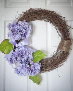Hydrangea Wreath Spring Wreath Handmade 14 inch by MyWhimsicalWreath, $55.00