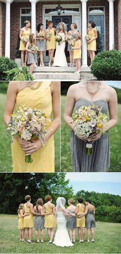 Homemade Honey Bee Wedding in Yellow and Gray - I like this warm, mellow yellow Grey Wedding Theme, Space Wedding, Yellow Wedding, Wedding Colors, Dream Wedding, Wedding Wall, Boho Wedding, Rustic Wedding, Wedding Venue Inspiration