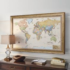 Black and white world map monochrome art world map art world map world magnetic travel map with antique white frame gumiabroncs Choice Image