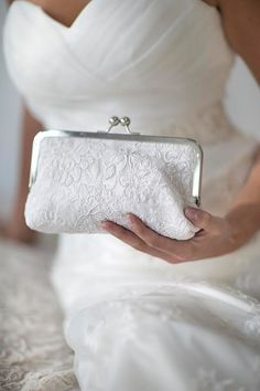 Bridal Clutch Ivory or White Alencon Lace Cabbage Rose Wedding