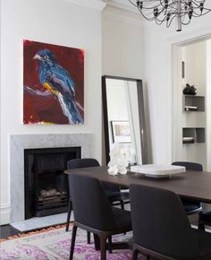 Marble surround fireplace with great painting