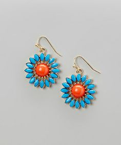 Look what I found on #zulily! Blue & Orange Floral Bead Drop Earrings #zulilyfinds
