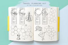 This travel planner kit going to help you to plan your vacation or holiday. It includes: things to do page, things to see, taste and where to go on your trip. There is also 4 trip itinerary stickers to write down city or country you are going to, transport, date, hotel details,