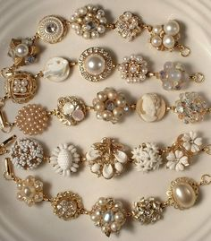 Bracelets made from vintage earrings--I should absolutely do this!