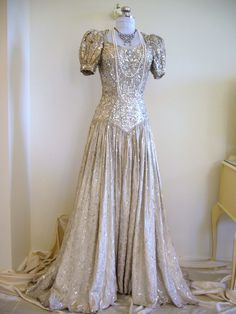 1930s Bead and Metal Sequin Silver Silk Lame Wedding Gown.
