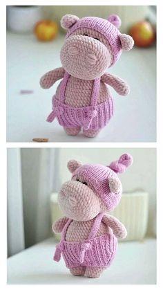 Crochet Hippo, Crochet Baby Toys, Cute Crochet, Crochet Crafts, Crochet Projects, Crocheted Toys, Animal Knitting Patterns, Crochet Amigurumi Free Patterns, Crochet Doll Tutorial