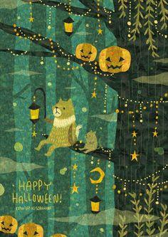 Bildergebnis für healing place illustration by megen Halloween Illustration, Art And Illustration, Illustrations And Posters, Fröhliches Halloween, Holidays Halloween, Storyboard, Cat Art, Painting, Fantasy