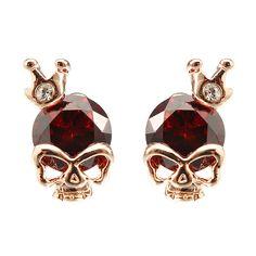 Sale 12% (4.99$) - Punk Skull Crown Ear Stud Exquisite Zinc Alloy Rhienstone Earrings for Women