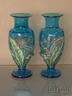 2 Moser Art Glass Turquoise Enameled Vases with Applied Salamanders CA 1885 | eBay
