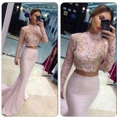 long Prom Dresses,mermaid Prom Dress,long sleeves Prom Dress,two pieces Prom Dress,BD1013