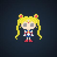 Famous Characters in Pixel Art • Usagi Tsukino or Sailor Moon from Sailor Moon  #usagitsukino #sailormoon #sailorsoldiers #sailor #moon #heroine #love #justice #pixel #pixelart #comics #cartoons #16bit #theoluk