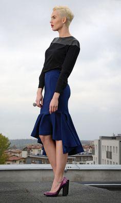 Spódnica DORKAS Midi Navy Blue falbana - DORKASdesign - Spódnice midi