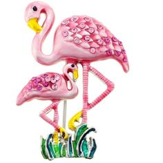 Pink Flamingos Crystal Pin Brooch (€32) ❤ liked on Polyvore featuring jewelry, brooches, brooch, birds, flamingo, pink jewelry, pin jewelry, pink brooch, crystal stone jewelry and pink crystal jewelry