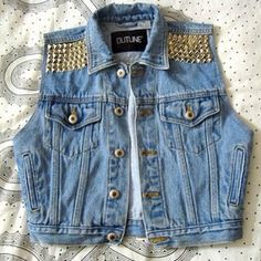 studded denim vest- outline - Chic Fashion Pins : The Cutest Pins Around! Rock Style, My Style, Look Fashion, Fashion Outfits, Jeans Fashion, Fashion Killa, Fashion Ideas, Fashion Beauty, Girl Fashion