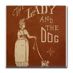 Dog, Pug, Vintage Poster Tile Coaster on CafePress.com