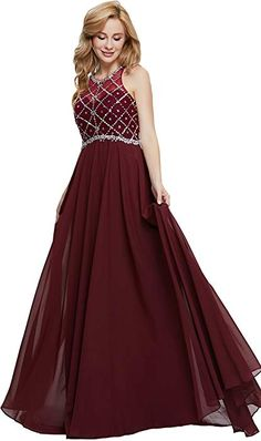 e67411fc3e4 online shopping for Firose Firose Women s Long Prom Dresses 2019 Scoop  Neckline Beaded A Line Formal Dress from top store. See new offer for  Firose Firose ...