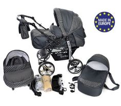 3-in-1 Travel System with Baby Pram, Car Seat, Pushchair & Accessories, Gray & Polka Dots
