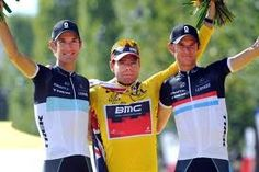 That lucky Cadel Evans, in the middle of a Schleck brothers sandwich!