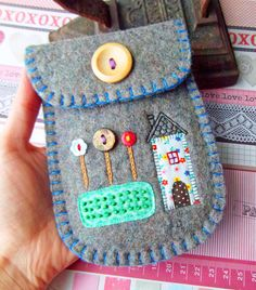 Felt Pouch  Tall House with Lollipop Trees van suezybees op Etsy