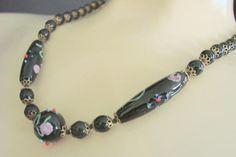Venetian Black Art Glass Wedding Cake Bead Necklace / Filigree
