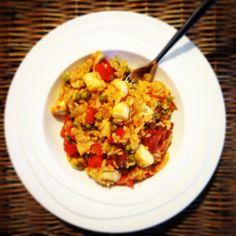 Paella met zeevruchten en chorizo