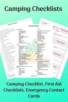 These printable camping checklists are a real go to when heading off camping. From camping gear checklists, first aid checklists and emergency contact cards they will ensure a happy set up with safety covered too.