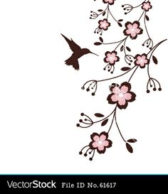 hummingbird clip art | Spring cherry blossoms vector art - Download Hummingbird vectors