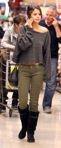 Selena Gomez- cute outfit minus the peek a boo belly!