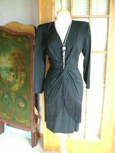 Black fringed wrap dress disco dress lbd sassy by verytreschic, $80.00