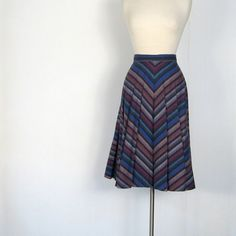 I would wear this all the time - 1970s chevron print wool skirt.