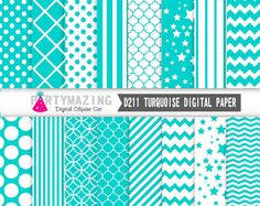 New from Partymazing on Etsy: Turquoise Digital Paper Chevron Polka Dot Stripe Digital Paper Scrapbook Background Basic Digital Paper Pack D211 (4.99 USD) For more @partymazing