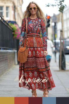Inspiração do Dia - vestido longo floral e bolsa de franja : boho feelings