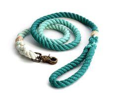 Teal Ombré Rope Dog Leash by MoondogDesignStudio on Etsy