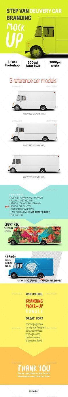 Step Van Delivery Cars Branding Mock-up - Vehicle Wraps Print