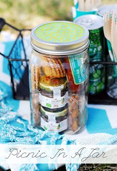 Picnic in a Jar. Or could be a good idea for a party pack for kids party