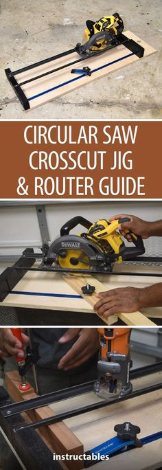 How to Make a Circular Saw Crosscut Jig and Router Guide 2 in 1 - If you don't have a lot of bench-top tools, this Instructable is definitely for you! Learn how to to get the most out of your circular saw and router buy building this track/jig to safely make dados and route edges! #woodworking #workshop #tools #customwoodworkingtools