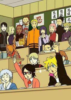 Mitsuki, Boruto, Sarada, Inojin, Shikadai, Chouchou, Sai, Ino, Choji, Karui, Naruto, Hinata, Sakura, Shikamaru, Temari, classroom, funny, families; Naruto