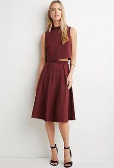 Dot-Patterned Midi Skirt | Forever 21 | #thelatest