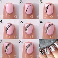 Feather nail art DIY